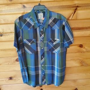 Lucky Brand Plaid, 100% Cotton, Pearl Snap Western